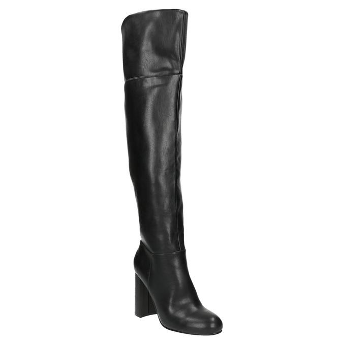 Čižmy nad kolená na podpätku bata, čierna, 791-6609 - 13