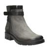Kožená členková obuv s metalickými prvkami bata, šedá, 596-2619 - 13