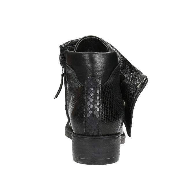 Kožená členková obuv so širokým lemom bata, čierna, 596-6617 - 17