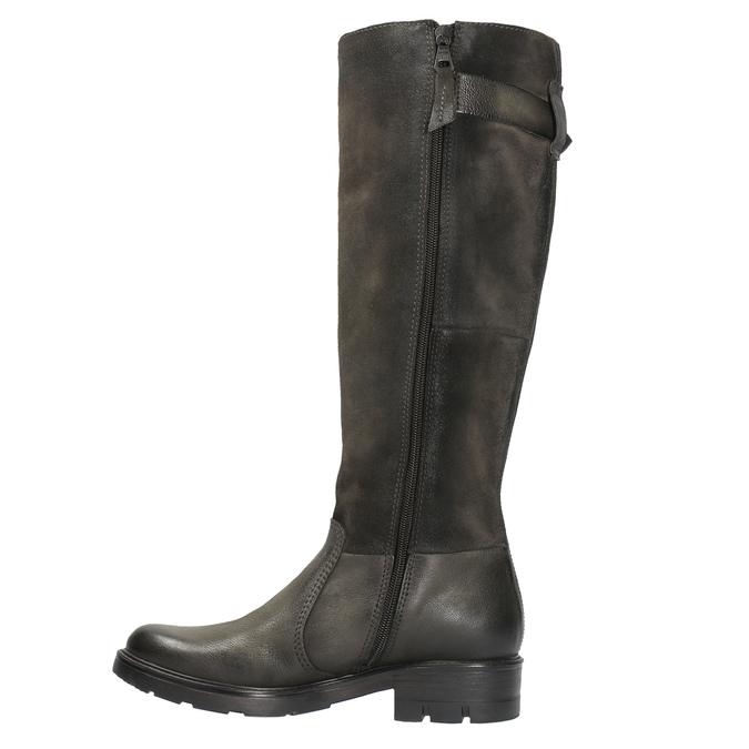 Kožené čižmy na výraznej podrážke bata, hnedá, 596-4618 - 26