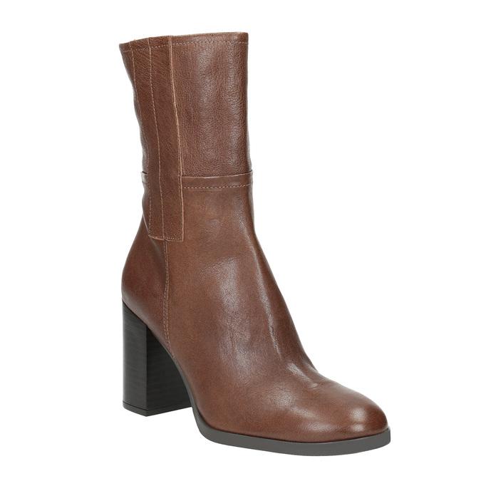 Kožené čižmy na masívnom podpätku bata, hnedá, 796-4635 - 13