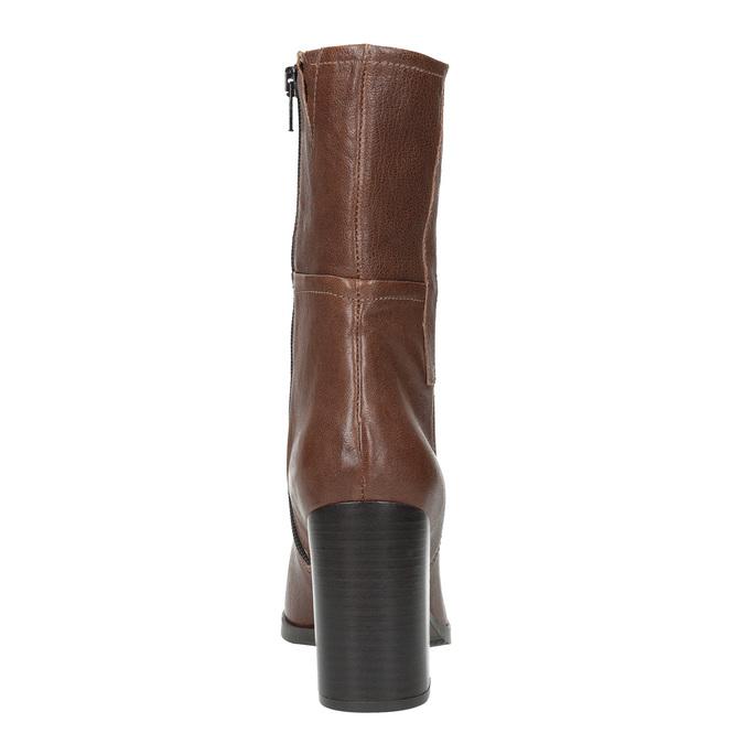 Kožené čižmy na masívnom podpätku bata, hnedá, 796-4635 - 17