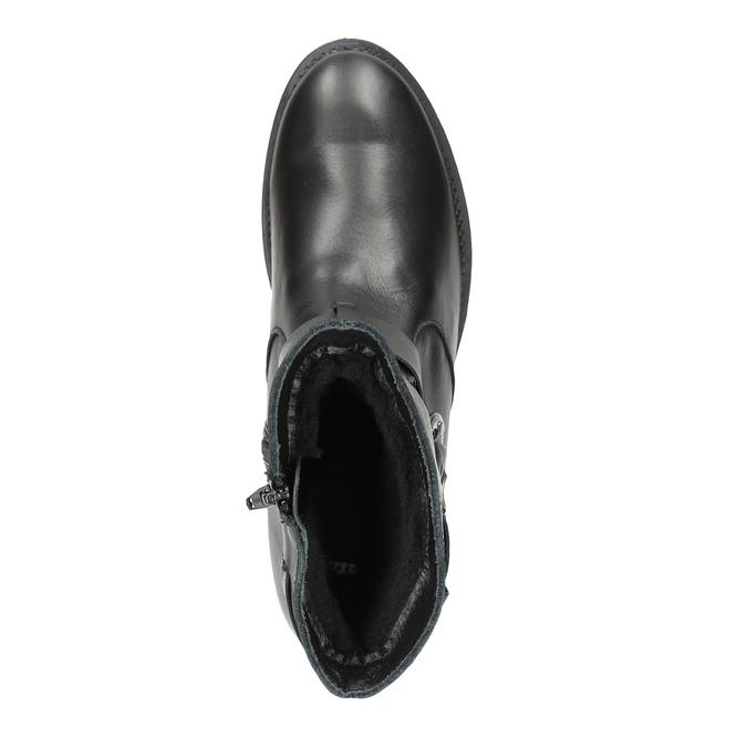Dámske kožené čižmy s prackou bata, čierna, 596-6141 - 19
