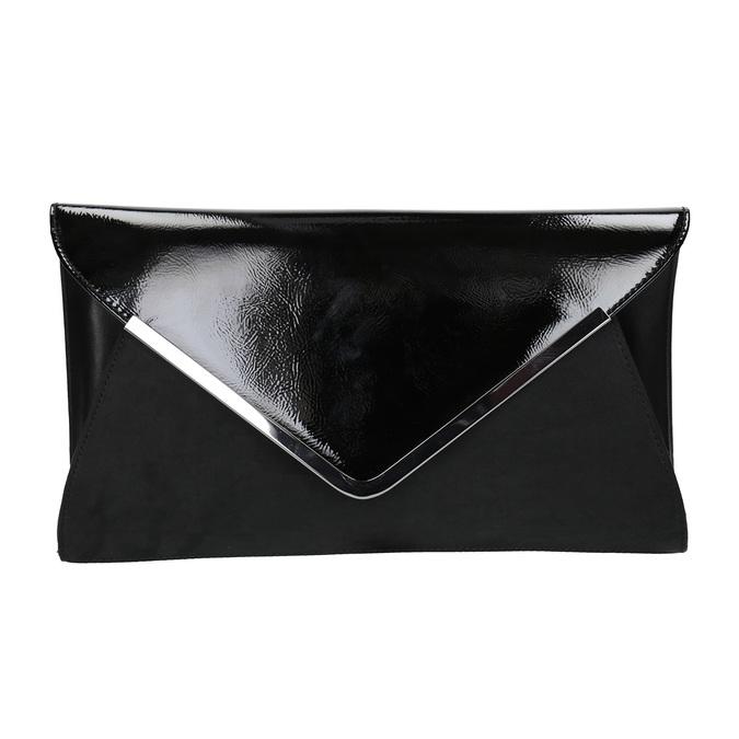 Čierna listová  kabelka so striebornou retiazkou bata, čierna, 961-6221 - 26