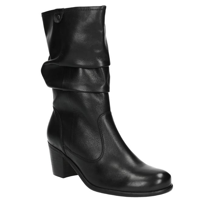 Čierne kožené čižmy bata, čierna, 694-6601 - 13