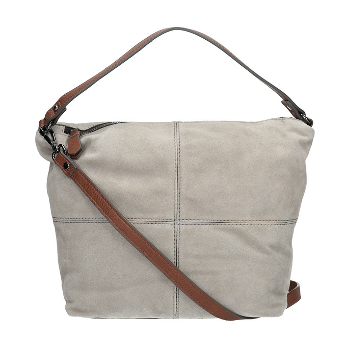Kožená kabelka v Hobo štýle bata, šedá, 963-2130 - 19