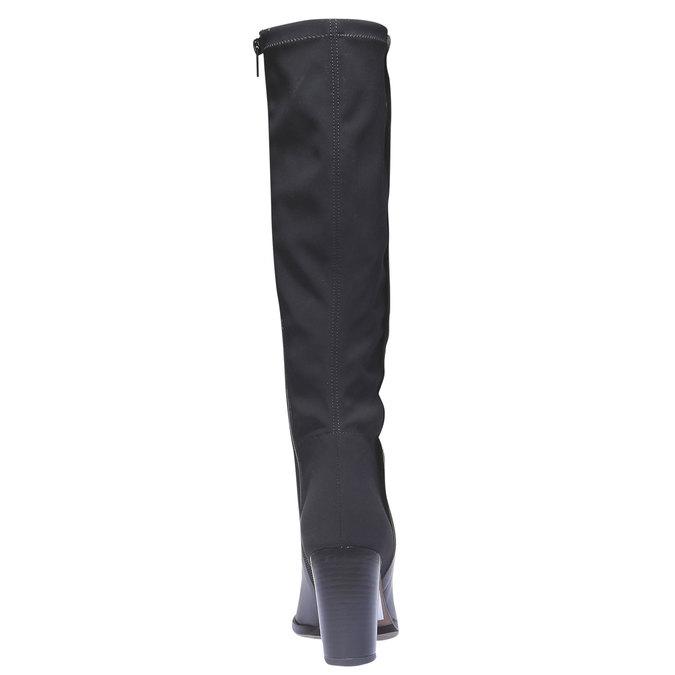 Kožené čižmy na podpätku bata, čierna, 794-6604 - 17