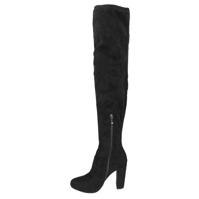 Čižmy nad kolená na podpätku bata, čierna, 799-6605 - 19
