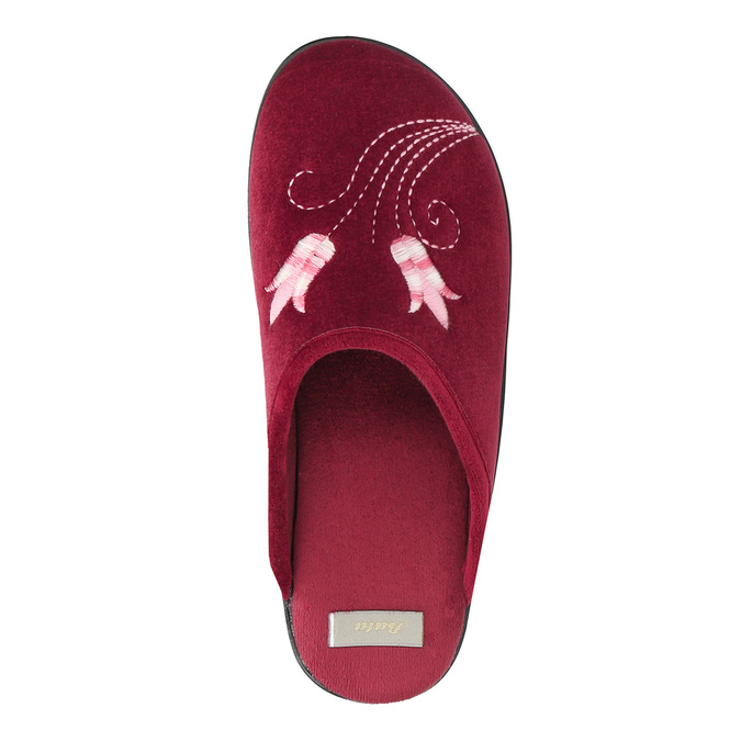 Dámska domáca obuv s výšivkou bata, červená, 579-5603 - 19