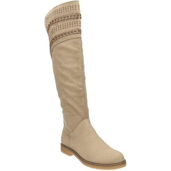 Čižmy nad kolená bata, béžová, 599-2602 - 13