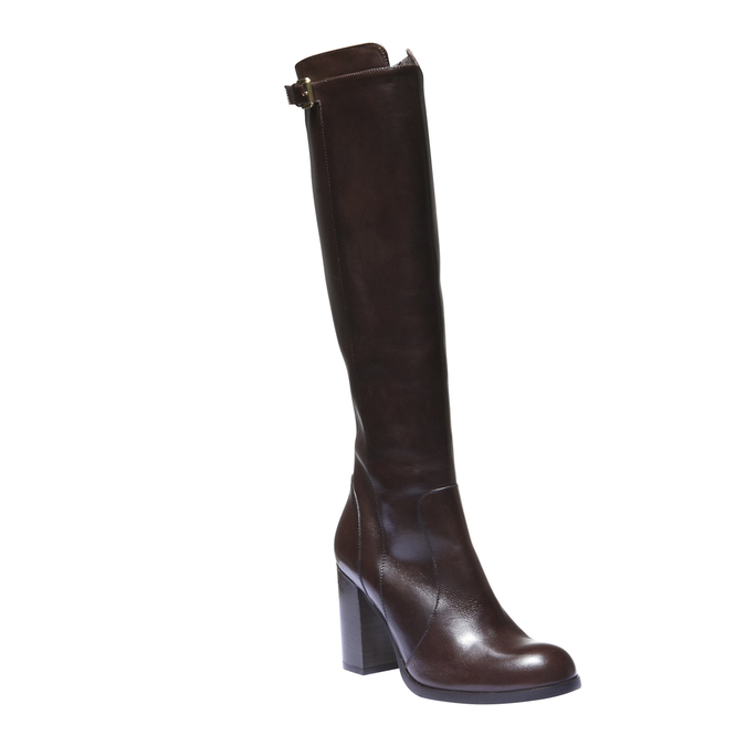 Kožené čižmy na podpätku bata, hnedá, 794-4106 - 13