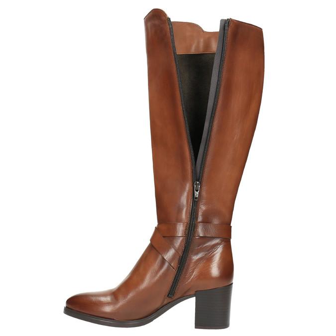 Kožené čižmy na stabilnom podpätku bata, hnedá, 696-4615 - 19