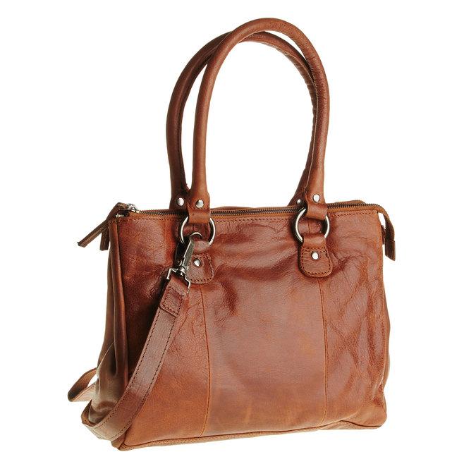 Kožená kabelka s odnímatelným popruhom bata, hnedá, 964-3123 - 13