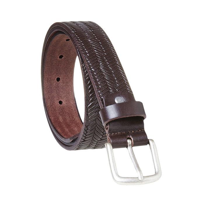 Pánsky kožený opasok s prepletaním bata, hnedá, 954-4158 - 13