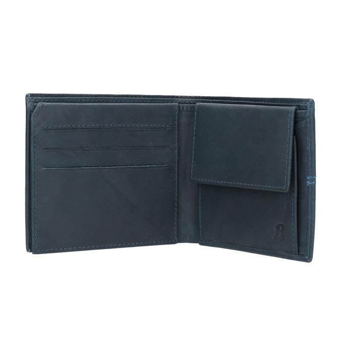 Kožená peňaženka s prešívaním bata, modrá, 944-9176 - 15