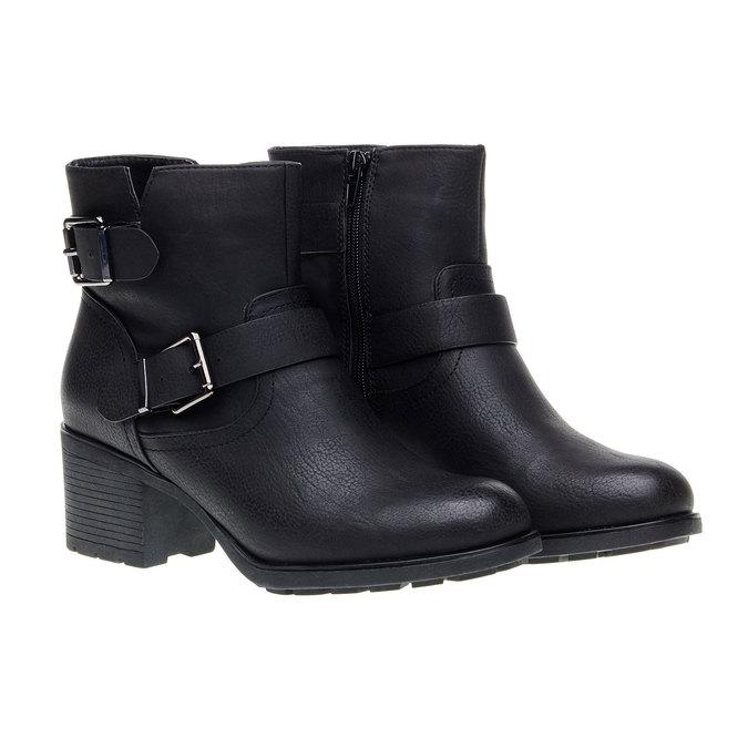 Členková obuv s prackami bata, čierna, 691-6103 - 26