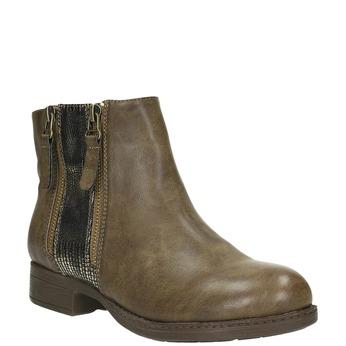 Dámska členková  obuv so zipsami bata, hnedá, 591-3612 - 13