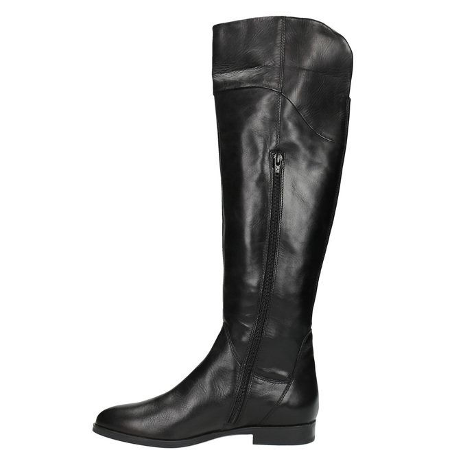 Dámske kožené čižmy ku kolenám bata, čierna, 594-6605 - 19