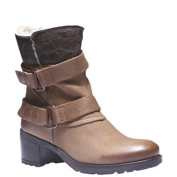Kožené členkové čižmy s remienkami bata, hnedá, 696-3101 - 13