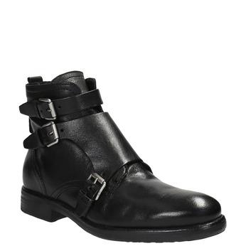 Kožená obuv s prackami bata, čierna, 894-6683 - 13