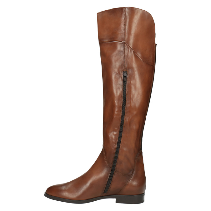 Hnedé kožené čižmy ku kolenám bata, hnedá, 594-4605 - 19