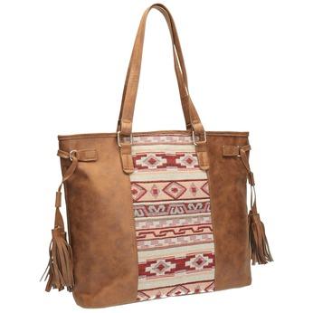 Dámska kabelka v Etno štýle bata, hnedá, 961-3669 - 13