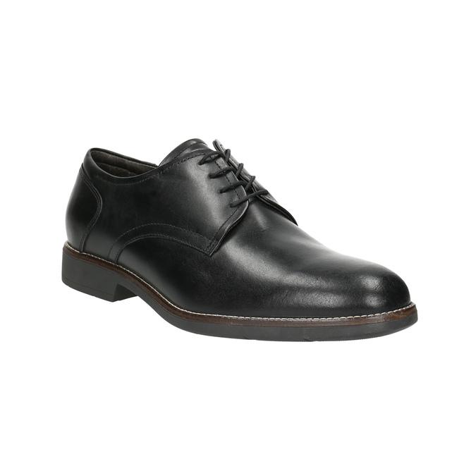 Kožené poltopánky v štýle derby bata-light, čierna, 824-6616 - 13