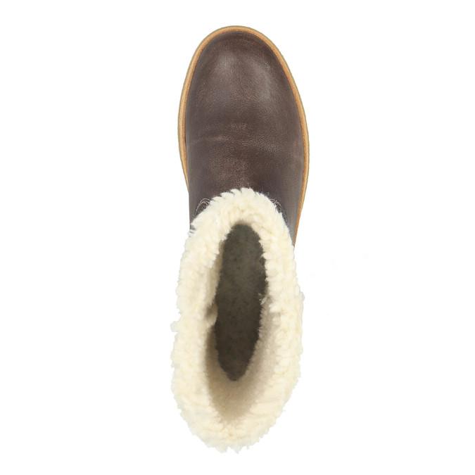 Kožená zimná obuv s kožúškom weinbrenner, hnedá, 596-8628 - 19