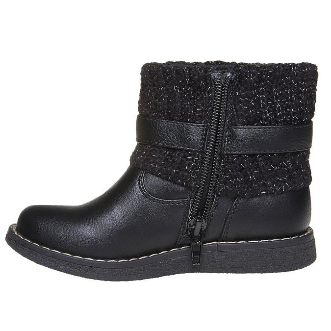 Detská obuv s úpletom mini-b, čierna, 291-6154 - 19