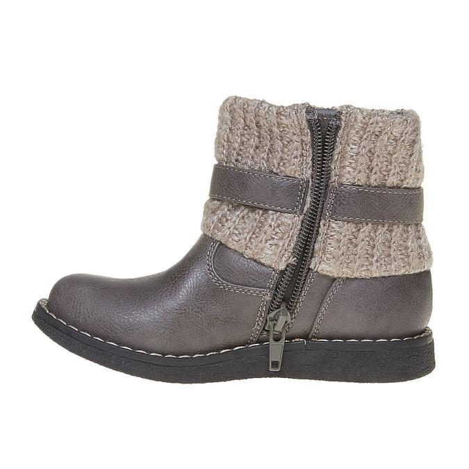 Detská obuv s pleteným lemom mini-b, šedá, 291-2154 - 19