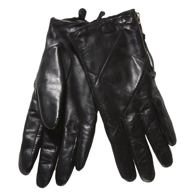 Kožené dámske rukavice s prešitím bata, čierna, 904-6108 - 13