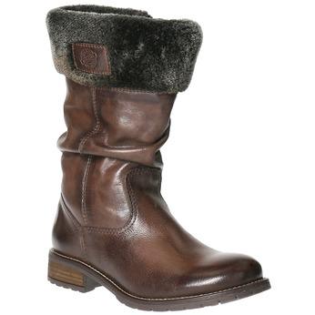Dámske kožené čižmy s kožúškom bata, hnedá, 594-4612 - 13