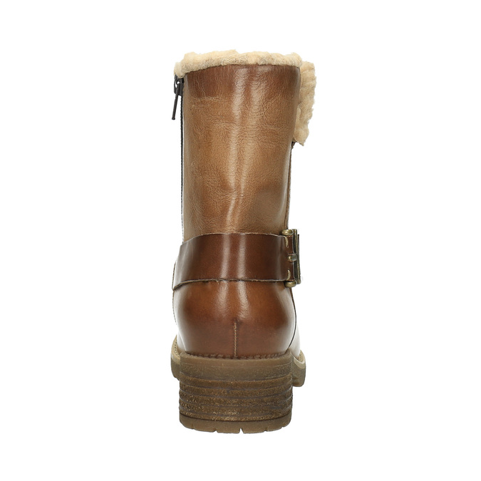 Kožená zimná obuv s kožúškom bata, hnedá, 594-4609 - 17
