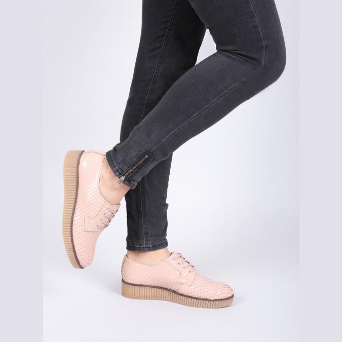 Dámske kožené poltopánky bata, ružová, 526-5613 - 14