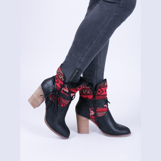 Členkové čižmy vo Western štýle so zateplením bata, čierna, 699-6603 - 14