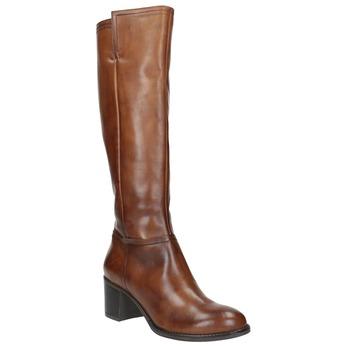 Kožené dámske čižmy bata, hnedá, 694-3361 - 13