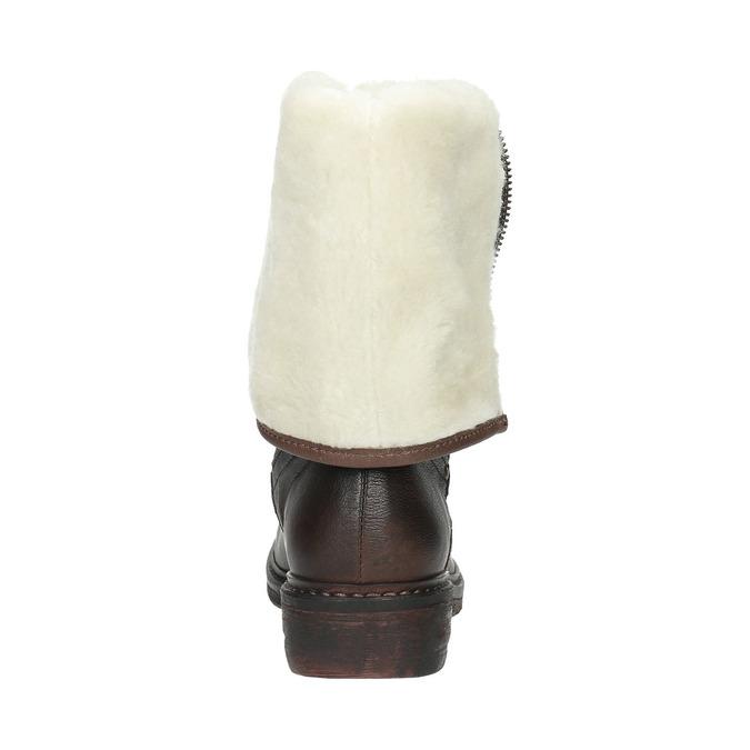 Kožená zimná obuv s kožúškom manas, hnedá, 596-4600 - 17