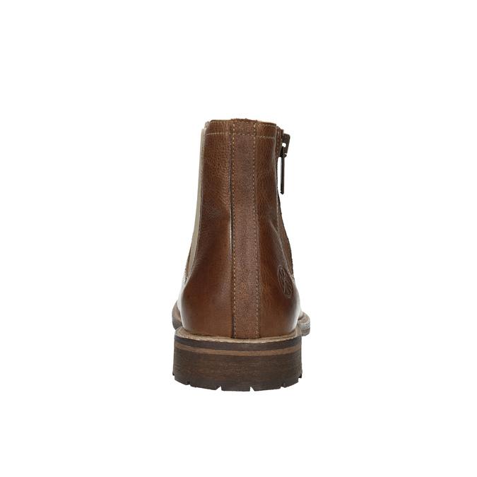Kožená členková obuv s ozdobným zipsom bata, hnedá, 896-3654 - 17