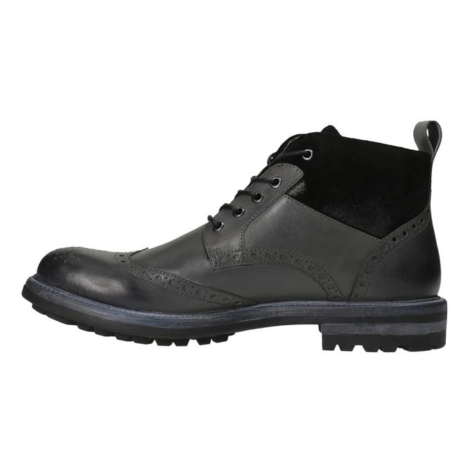 Kožená členková obuv s Brogue zdobením bata, šedá, 896-2646 - 26