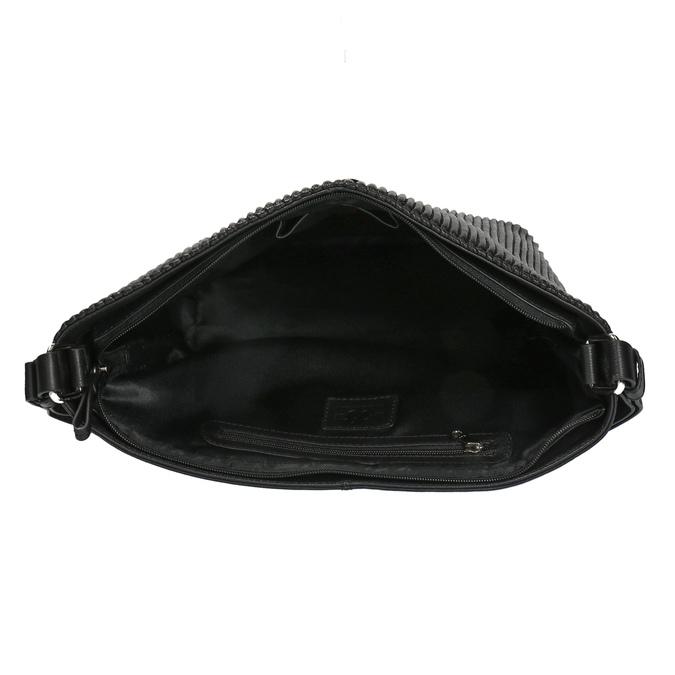 Kožená kabelka v Hobo štýle bata, čierna, 964-6216 - 15