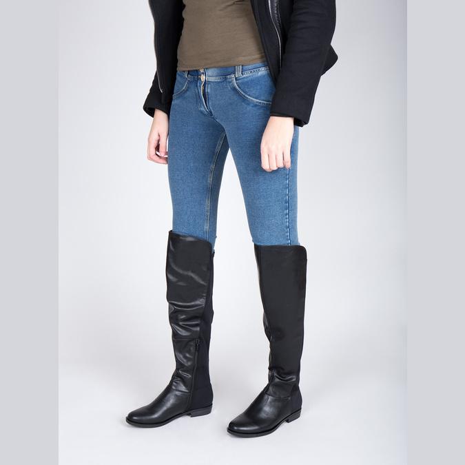 Dámské čižmy nad kolená bata, čierna, 591-6604 - 18