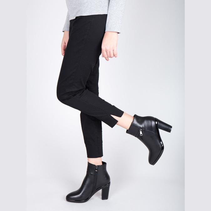 Kožená členková obuv na podpätku bata, čierna, 694-6632 - 15
