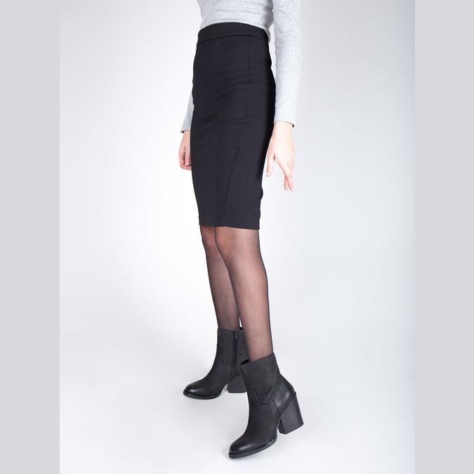 Kožená členková obuv na širokom podpätku bata, čierna, 696-6612 - 18