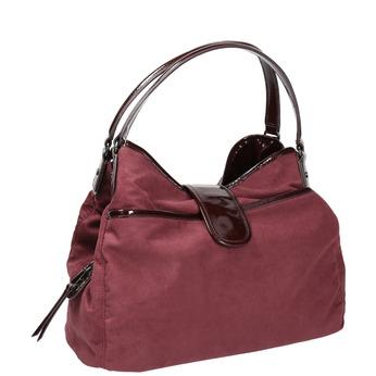 Vínová kabelka s lakovanými detailami bata, červená, 969-5209 - 13