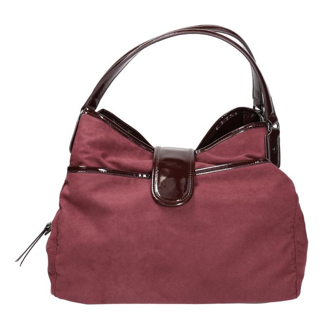 Vínová kabelka s lakovanými detailami bata, červená, 969-5209 - 26