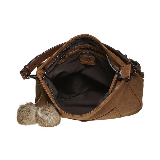 Dámska kabelka s bambuľkami bata, hnedá, 961-3244 - 15