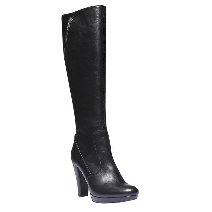 Kožené čižmy na podpätku bata, čierna, 794-6602 - 13