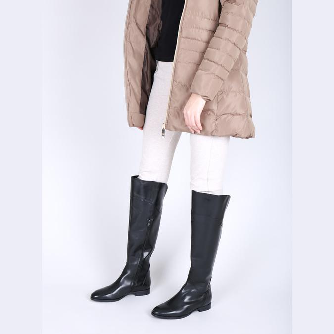 Dámske kožené čižmy ku kolenám bata, čierna, 594-6605 - 18