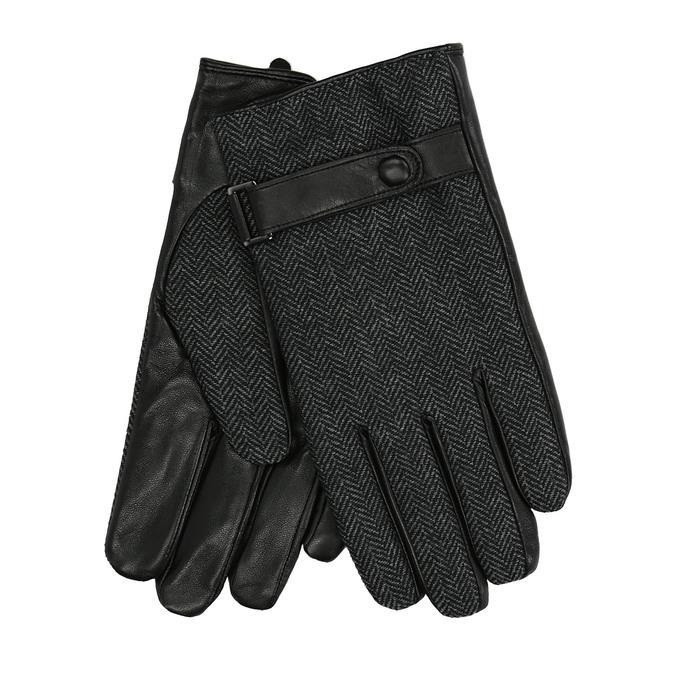 Pánske rukavice s remienkom bata, čierna, 909-6297 - 13