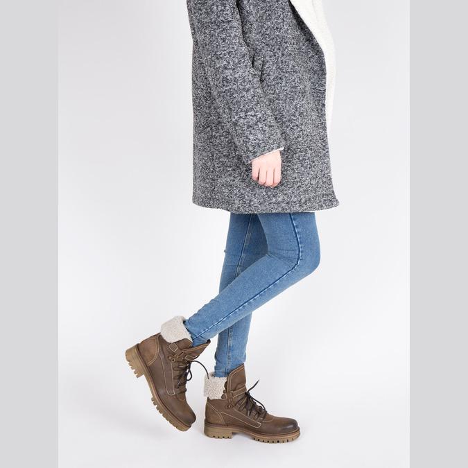 Dámska kožená zimná obuv manas, hnedá, 596-4602 - 18